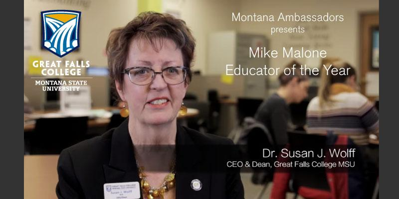 2015 Montana Ambassadors Educator of the Year: Susan Wolff, Great Falls College MSU