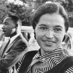 African-American activists Rosa Parks and Dr. Martin Luther King